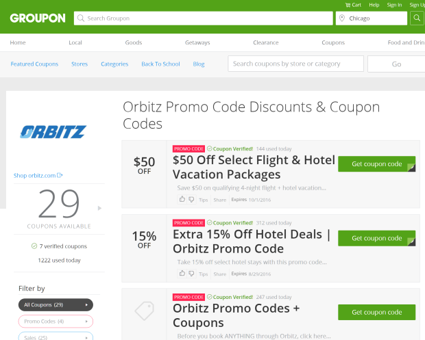 groupon coupons for Orbitz