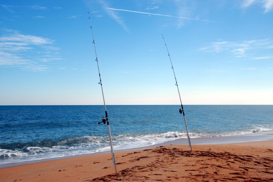 surf-fishing-poles-on-the-beach